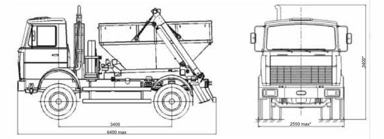 Мусоровозы МАЗ-4906P2-320 контейнерный габариты