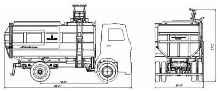 Мусоровозы МАЗ-4907P2-020 «Сапфир» c боковой разгрузкой габариты