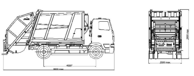 Мусоровозы МАЗ-5904B2-010 с задней загрузкой габаоиты